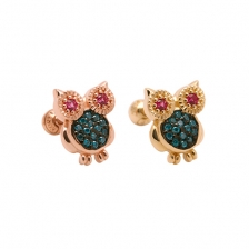 KPE2672 Owl shape Gold Earrings Piercing