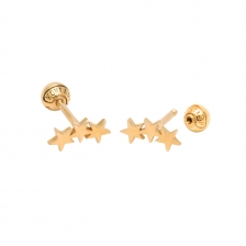 KPE 1059 3 Star Gold Stud Earring Piercing