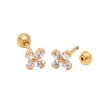 KPE 2621 2mm CZ Flower Gold Stud Earring Piercing