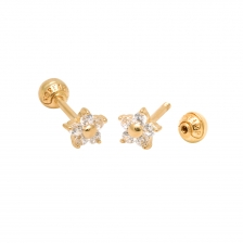 KPE 1043 1.2mm CZ Flower Gold Stud Earring Piercing