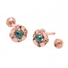 KPE 4052 Diamond Flower Gold Earring Piercing
