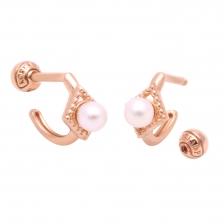 KPE 4105-1 Pearl Hoop style Gold Earring Piercing