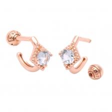 KPE 4105 Aquamarine Hoop style Gold Earring Piercing