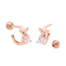 KPE 4106 CZ Butterfly shape Hoop style Gold Earring Piercing