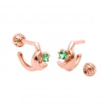 KPE 4107 Emerald Hoop style Gold Earring Piercing