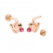 KPE 4108 Ruby Heart shape Hoop style Gold Earring Piercing