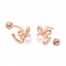 KPE 4109-1 Pearl Hoop style Gold Earring Piercing