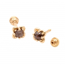 KPE 4076 Diamond Flower Gold Earring Piercing