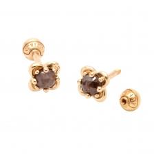 KPE 4076 Diamond Flower Gold Earring Piercing
