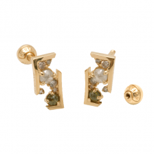 KPE 4205 Diamond Gold Earring Piercing
