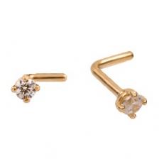 KPN 022 CZ Gold Stud Nose Piercing