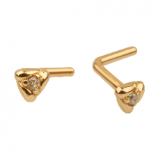 KPN 029 CZ Gold Stud Nose Piercing