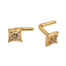 KPN 031 CZ Gold Stud Nose Piercing