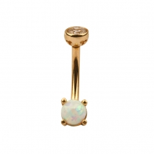 KP 302 14K Gold Opal Belly Button Rings