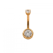 KP 301 14K Gold CZ Belly Button Rings