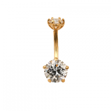 KP 305 14K Gold CZ Belly Button Rings