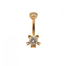 KP 306 14K Gold CZ Belly Button Rings