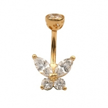 KP 308 14K Gold CZ Belly Button Rings