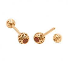 KPE 4188 Barbell Mesh Ball Gold Stud Earring Piercing