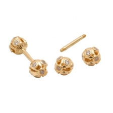 KPE 4187 Barbell Mesh Ball Gold Stud Earring Piercing