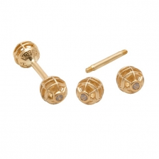 KPE 4186 Barbell Mesh Ball Gold Stud Earring Piercing