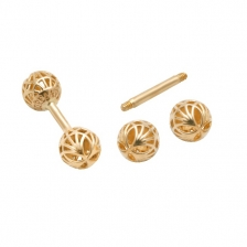 KPE 4183 Barbell Mesh Ball Gold Stud Earring Piercing