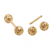 KPE 4182 Barbell Mesh Ball Gold Stud Earring Piercing
