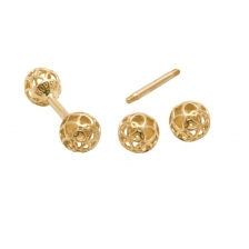 KPE 4181 Barbell Mesh Ball Gold Stud Earring Piercing