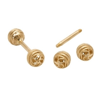 KPE 4180 Barbell Mesh Ball Gold Stud Earring Piercing