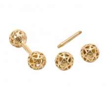 KPE 4179 Barbell Mesh Ball Gold Stud Earring Piercing