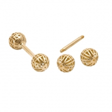 KPE 4178 Barbell Mesh Ball Gold Stud Earring Piercing