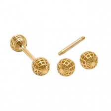 KPE 4177 Barbell Mesh Ball Gold Stud Earring Piercing