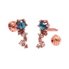 KPE 4319 Diamond Gold Earring Piercing
