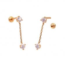 KPE 4339 Gold Diamond chain Gold Cartilage Helix Stud Earring Piercing