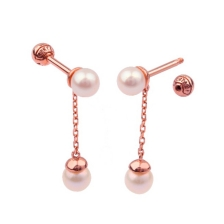 KPE 4364 Gold Pearl chain Gold Cartilage Helix Stud Earring Piercing