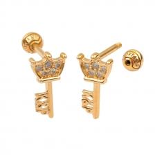 KPE 4387 Gold Key shaped Cartilage Stud Earring Piercing