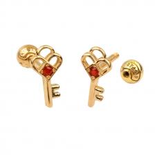 KPE 4384 Gold Key shaped Cartilage Stud Earring Piercing