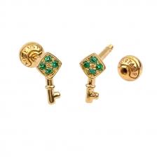 KPE 4383 Gold Key shaped Cartilage Stud Earring Piercing