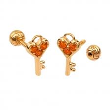 KPE 4380 Gold Key shaped Cartilage Stud Earring Piercing