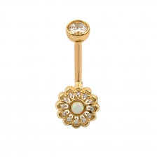 KP 321 14K Gold Opal Belly Button Rings