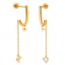 KPE 4503 chain Gold Cartilage Helix Stud Earring Piercing
