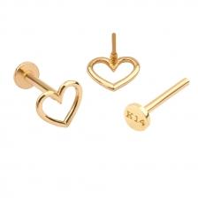 PL 036 14K Gold Heart Internally threaded labret stud