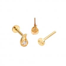 PL 060 14K Gold Water Drop Shape Internally threaded labret stud