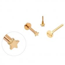 PL 061 14K Gold Star Shape Internally threaded labret stud