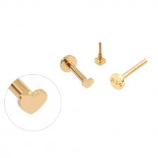 PL 063 14K Gold Heart Shape Internally threaded labret stud