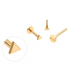PL 064 14K Gold Triangle Shape Internally threaded labret stud