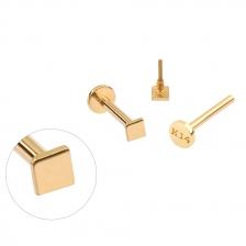 PL 065 14K Gold Square Shape Internally threaded labret stud
