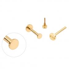 PL 066 14K Gold Circle Shape Internally threaded labret stud