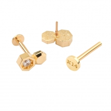 PL 070 14K Gold Internally threaded labret stud