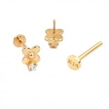 PL 076 14K Gold Internally threaded labret stud